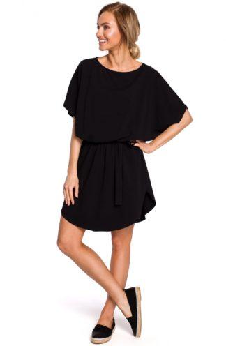 Wiązana sukienka oversize czarna