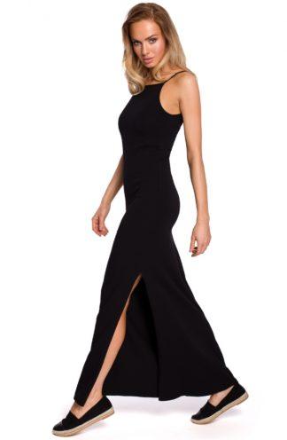 Długa bawełniana sukienka czarna