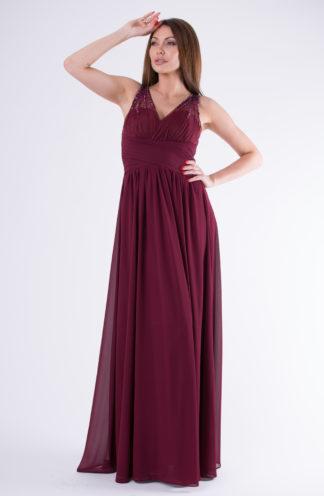 Suknia na ozdobnych ramiączkach bordowa