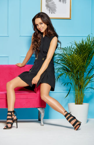 Mini żakietowa sukienka czarna