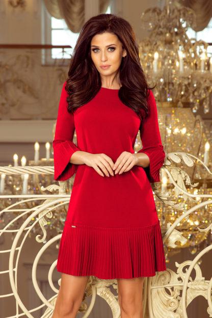 Sukienka z plisowaną falbaną i rękawami czerwona