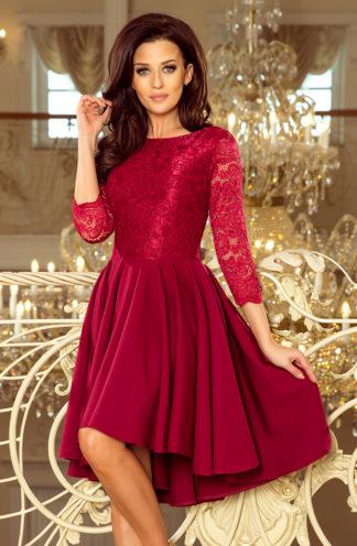 Sukienka z koronkową górą i długim rękawem bordowa