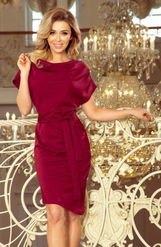 Luźna sukienka z wiązaniem bordowa