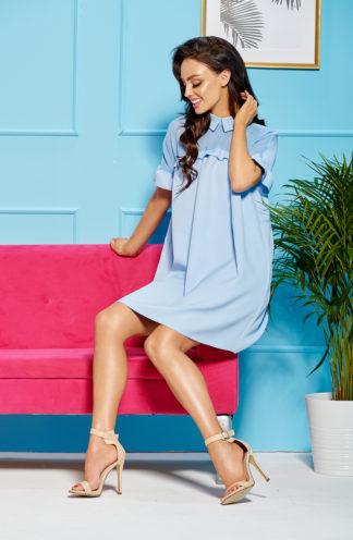 a8cf9cd85ce52a Elegancka sukienka oversize z kołnierzykiem błękitna
