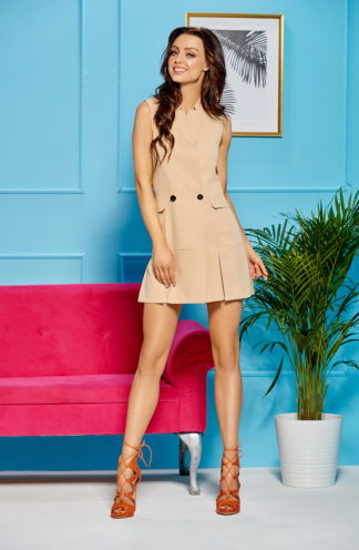 Mini żakietowa sukienka beżowa