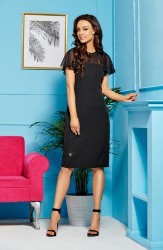 Ołówkowa sukienka z szyfonem czarna