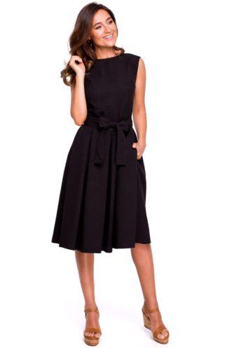 Sukienka midi z paskiem czarna