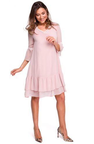 Wizytowa sukienka z falbanami różowa