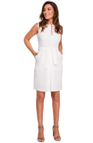 Biznesowa sukienka z wiązaniem ecru