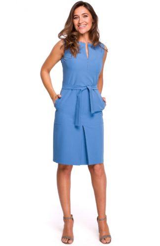 Biznesowa sukienka z wiązaniem niebieska