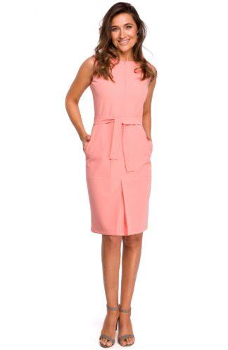 Biznesowa sukienka z wiązaniem brzoskwiniowa