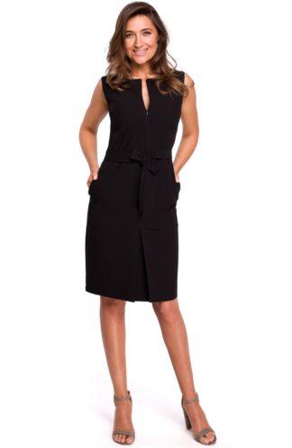 Biznesowa sukienka z wiązaniem czarna