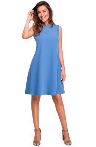 Trapezowa sukienka z dekoltem na plecach niebieska