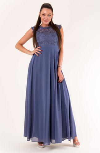 Sukienka maxi z haftowaną górą niebieska