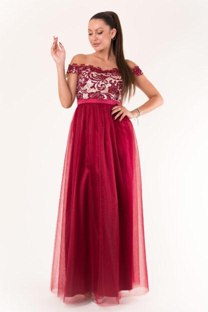 Suknia z opadającymi ramionami i koronką bordowa