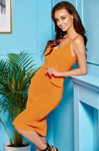 Dopasowana sukienka z dekoltem pomarańczowa