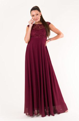 Sukienka maxi z haftowaną górą bordowa