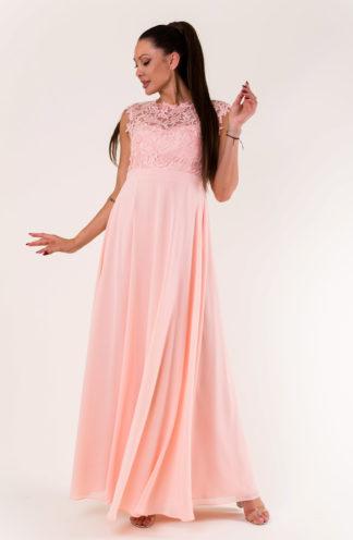 Sukienka maxi z haftowaną górą róż