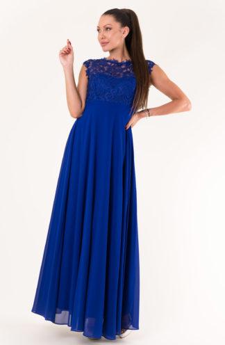 Sukienka maxi z haftowaną górą chabrowa
