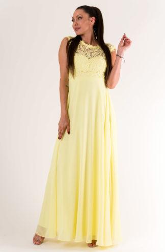 Sukienka maxi z haftowaną górą żółta