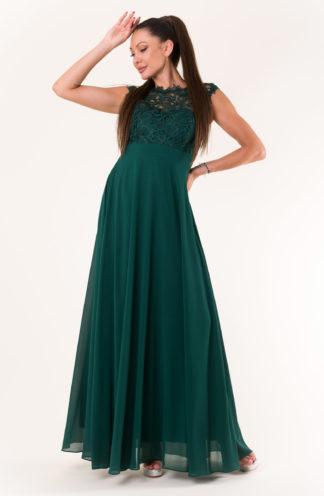 Sukienka maxi z haftowaną górą zieleń