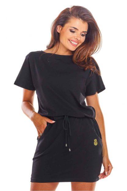 Sportowa sukienka z kieszeniami czarna