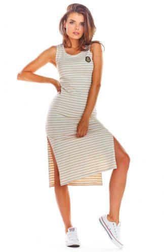 Bawełniana sukienka z rozcięciem beżowa w paski