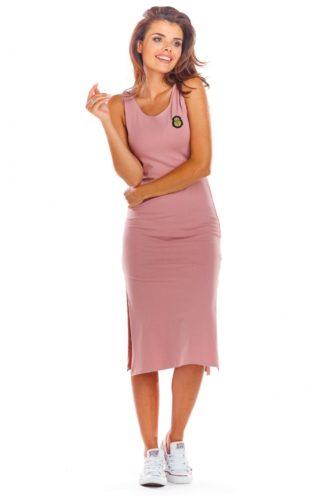 Bawełniana sukienka z rozcięciem różowa