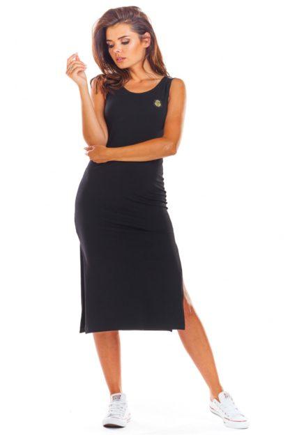 Bawełniana sukienka z rozcięciem czarna