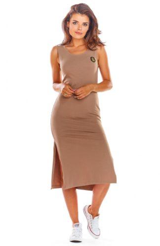 Bawełniana sukienka z rozcięciem beżowa