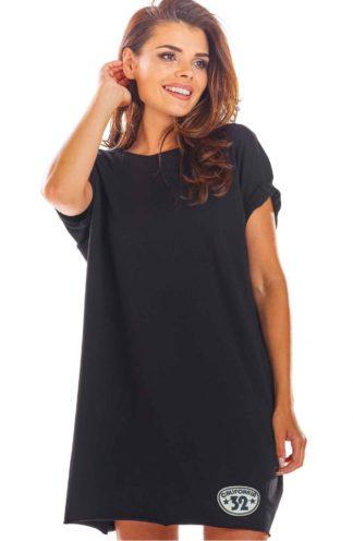 Sukienka z podwijanym rękawem czarna