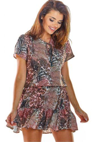 Zwiewna sukienka z wiązaniem w zwierzęcy wzór