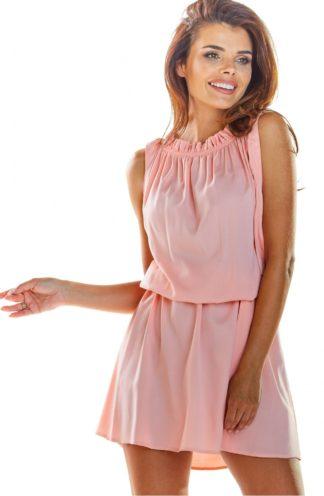 Letnia sukienka z drapowaniem różowa