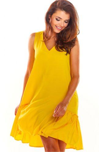 Luźna sukienka z drapowaniem żółta