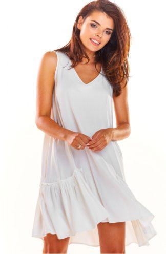 Luźna sukienka z drapowaniem biała