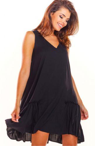 Luźna sukienka z drapowaniem czarna