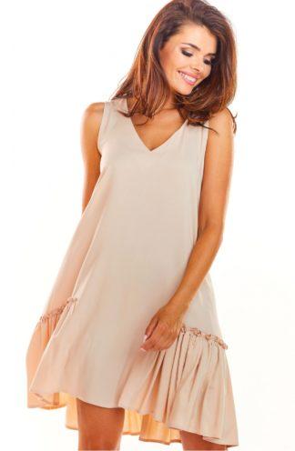 Luźna sukienka z drapowaniem beżowa