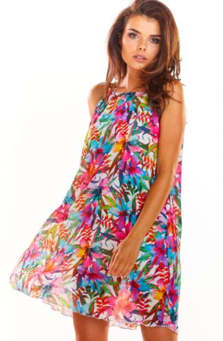Sukienka z dekoltem halter w kolorowe kwiaty