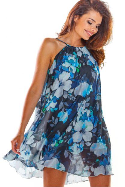 Sukienka z dekoltem halter niebieska w kwiaty