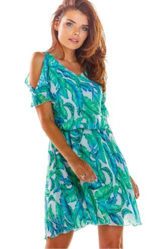 Sukienka z gumką i wyciętym rękawem turkusowa