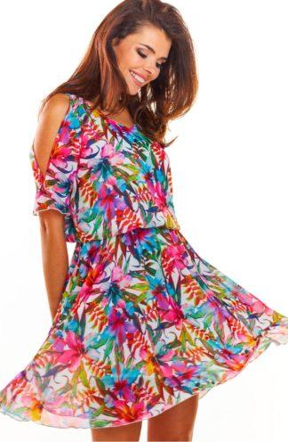 Sukienka z gumką i wyciętym rękawem w kolorowe kwiaty