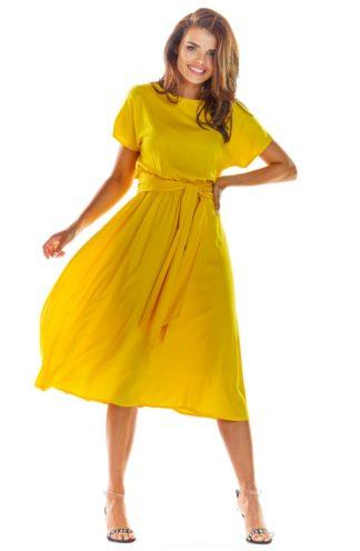 Sukienka z szerokim wiązaniem żółta