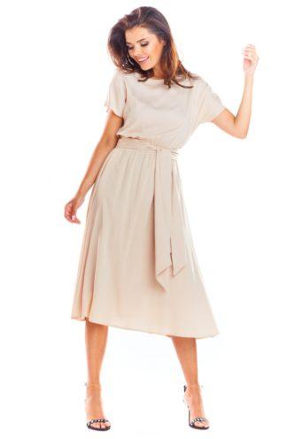 Sukienka z szerokim wiązaniem beżowa
