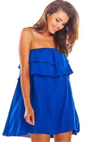 Hiszpanka mini z falbanami niebieska