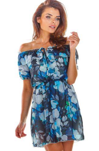 Sukienka hiszpanka z rękawkiem niebieska w kwiaty