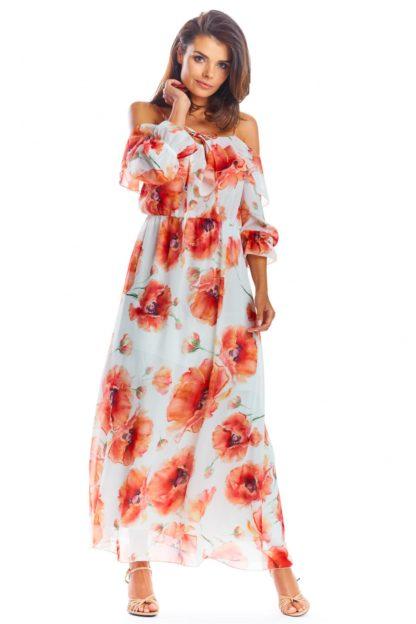 Długa sukienka na ramiączkach z falbanami biała