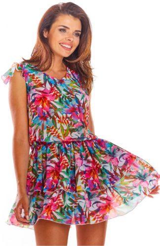 Zwiewna sukienka w kolorowe kwiaty