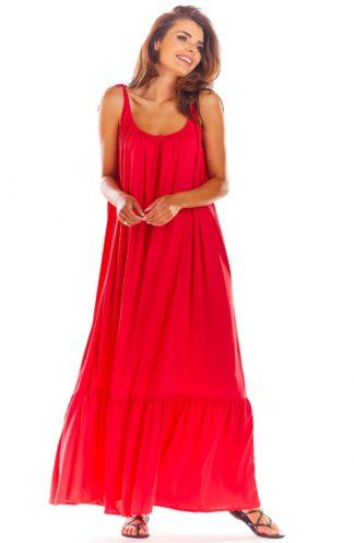 Luźna sukienka maxi na ramiączkach malinowa