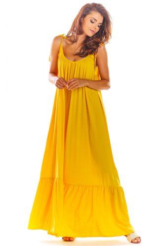 Luźna sukienka maxi na ramiączkach żółta