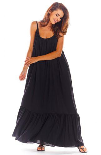 Luźna sukienka maxi na ramiączkach czarna